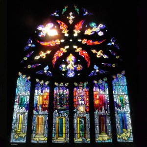 Vidriera de la iglesia de  Linlithgoow (foto: R.López)