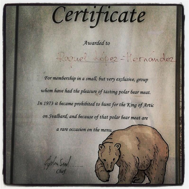 certificado de comer oso polar