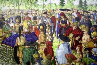 Ilustración sobre los habitantes de Hallsatt, el Reino de la Sal